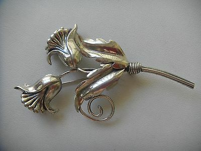 Vintage Sterling Silver Flower Brooch Pin by LANG