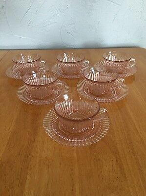 Pink Depression Glass 6 Cups & Saucers Hocking Queen Mary Design 12 Piece Set