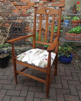 Gorgeous Oak Arts & Crafts Open Armchair~Mackintosh Style New Upholstery