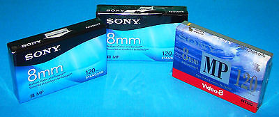 3 New Sony MP 8mm P6120MP Camcorder Standard 120 minutes Tapes Sealed