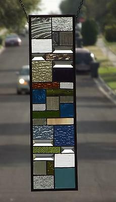 "•Bright & Vibrant •Stained Glass Window Panel • 24 1/2""-6 1/2"" Signed &Numbered"