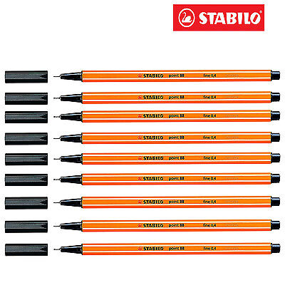 Black STABILO Point 88 Fineliner Ballpoint Pens 0.4mm Art No. 88/46