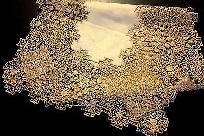 Knotted Lace Ecru Runner Intricate Design of Embroidery & Needleweave over Knott