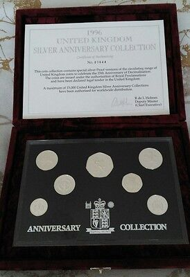 UK 1996 SILVER PROOF ANNIVERSARY COLLECTION 7 COINS 1p to 50p COA