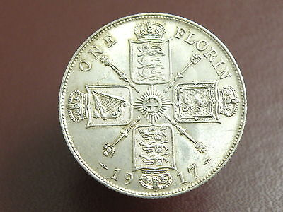 1917 King George V - SILVER FLORIN TWO SHILLING COIN - Good Grade