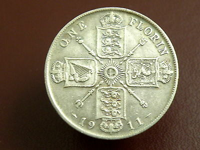 1911 King George V - SILVER FLORIN TWO SHILLING COIN - Good Grade