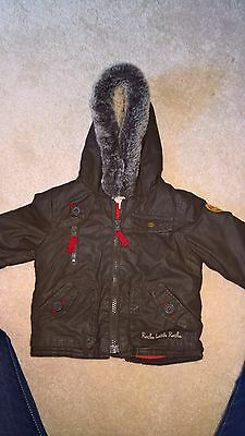 Little Rocha baby boys brown hooded coat AGE 3-6 MONTHS