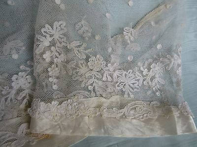 Antique Tambour Lace Sleeve Pair Silk Wedding Gown Bridal Dress French Doll Trim