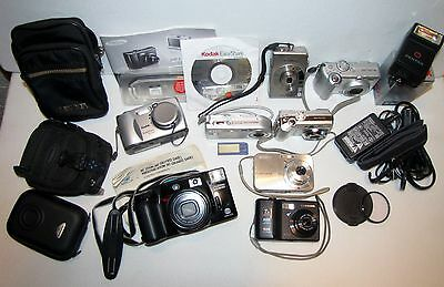 Junk Drawer Lot 7 Digital & 1-35mm Cameras~Sony/Nikon/Kodak/Samsung/Canon~AS IS!