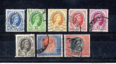 set of 6 used QEII stamps from rhodesia & nyasaland. 1954