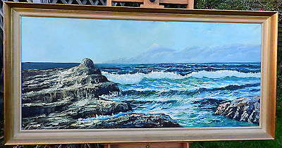 Very large wooden framed, signed oil on canvas painting of seascape