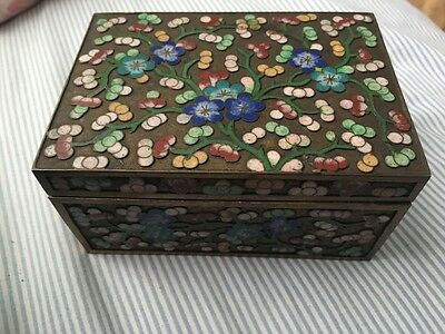 Antique Vintage Brass Cloisonne Enameled Chinese Box