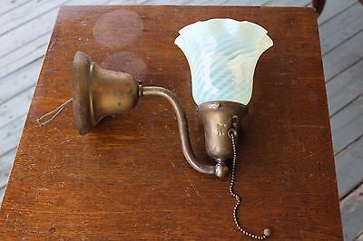 Antique Wall Sconce  With Swirl Opalescent Shade , Old Patina