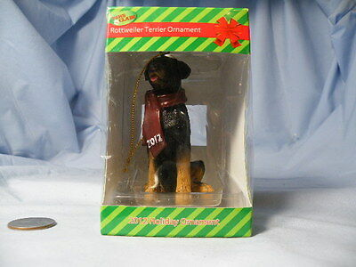 Rottweiler Terrier Paws Clause Christmas Ornament 2012