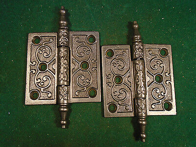 "Pair Vintage Eastlake Hinges  3""  X 3""  Steeple Top - Beautiful  (4478)"