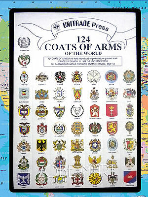 124 Coat Of Arms Of The World. Great For Stamp & Coin Collectors.