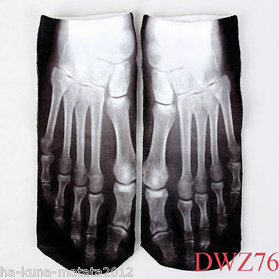 SKELETON New Short SOCKS UK Shoe 3-7, 1 pr 3D Digital Photo FOOT X-RAY, GB Sale