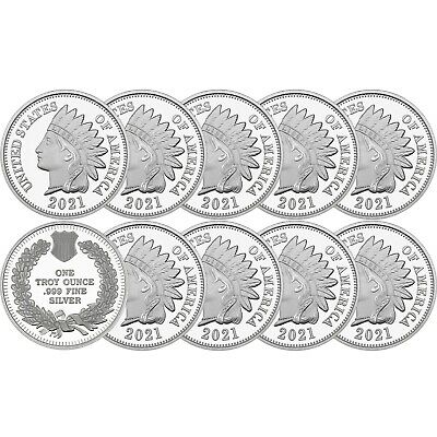 2018 Indian Head Cent  1oz .999 Silver Medallion - LOT OF 10