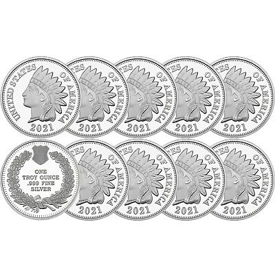2019 Indian Head Cent  1oz .999 Silver Medallion - LOT OF 10