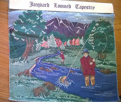 JACQUARD TAPESTRY FLY FISHING Fabric Pillow Wall Hanging 16x18 Olde Greenborough