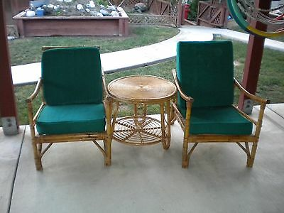 Vintage  Mid Century Rattan Bamboo Lounge Chairs  With Round Matching Table