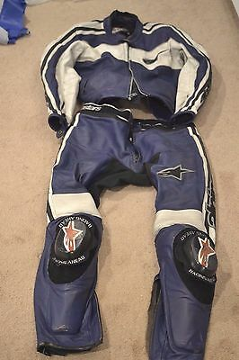 Alpinestars 2-Piece Blue/white Leather Motorcycle Racing Suit-Size 52