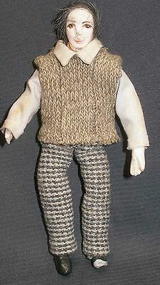 Dollhouse  Handsome Male Doll - Well Dressed, Dark Haired 6 Inches Bendable