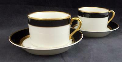 Fitz Floyd RENAISSANCE BLACK RIM ON BUFF 2 Cup & Saucer Sets GREAT CONDITION
