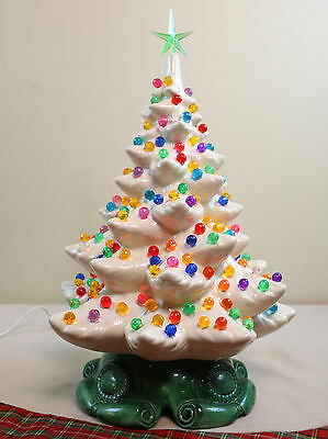 "70's Vintage Large 19"" White Lighted Ceramic Atlantic Mold Christmas Tree w Star"