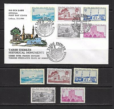 Turkey Kibris Cyprus 1980 Historical Monuments FDC and Mint Never Hinged set