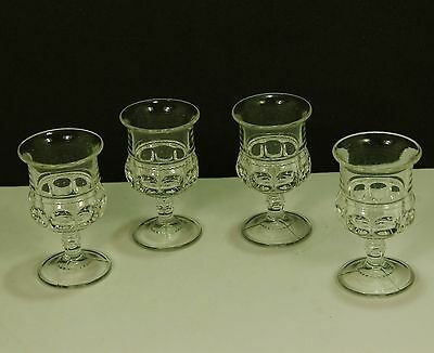 Vintage Tiffin Clear Kings Crown Cordials (4) - 3 Part Mold Lines