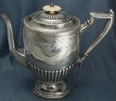 Antique Atkins Bros Coffee Pot Carved Finial Silverplate Large