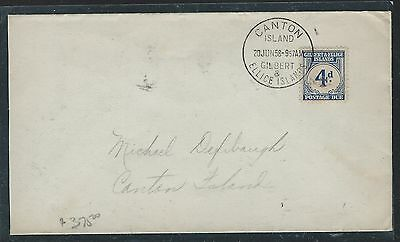 Giblert And Ellice Islands (P1110B)  Postage Due 4D On Local Cover Canton Island
