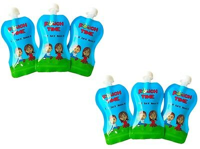 Pouch Time - Reusable Food Pouch (6 Pack, 5oz) for Children, Toddlers and Babies
