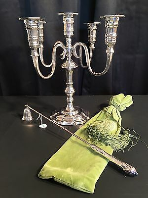 """Girandole Candelabra and Candle Snuffer Silver Plated """"Beauty and the Beast"""""""