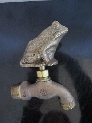 White Swan USA 1995 In Box Hand-Sculpted BRONZE Figural FROG Water Faucet Spigot