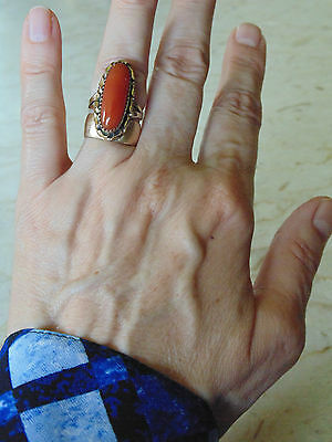 Vintage Navajo Handcrafted Ring Solid 14K Yellow Gold & Carnelian Gemstone Sz 6