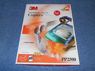 3M Transparency Film Pp2500 For Copiers Black On Clear No Stripe - 61 New Sheets