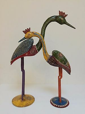 Handmade Carved Painted Vintage Wooden Metal Indian Peacock Rajasthani Folk Art
