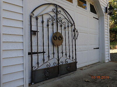 Tuscan Old World Iron Arched Scroll Garden Gate