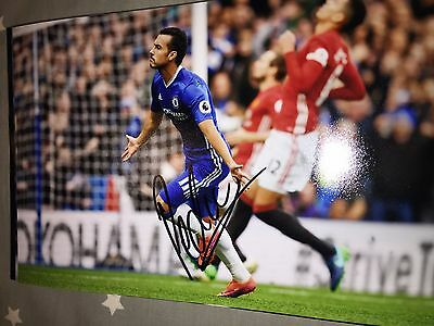 Pedro Chelsea Fc Blues Hand Signed 12X8 Photo New Stock