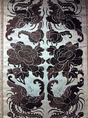 ANTIQUE 19th c QI'ING CHINESE EMBROIDERED SILK PANEL SLEEVE BANDS EMBROIDERY!