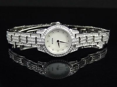 Bulova 96L149 Mother-of-Pearl Dial Crystal Silver-Tone Women's Watch $299