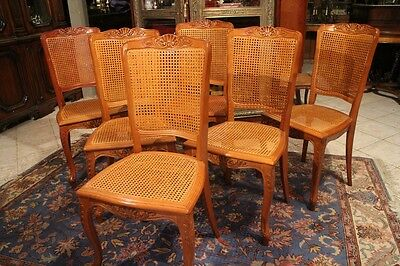Suite of 6 chairs style Louis XV pattern shell seats meshwork