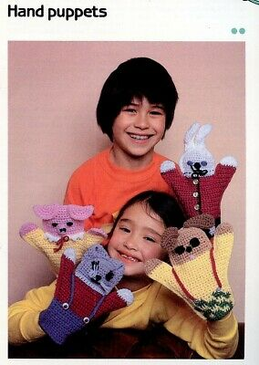 Dog Cat Pig Bunny Quick /'n Easy Crocheting pattern leaflet Hand Puppets