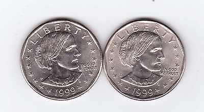 Susan B. Anthony 1999P &  1999D Dollar Coins, Two Very Nice Coins!