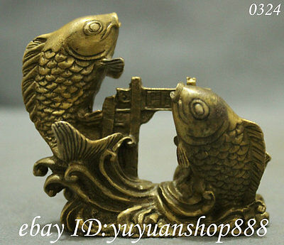 Chinese Exquisite pure Brass Lucky Carp Fish Jump Dragon Door Art Statue