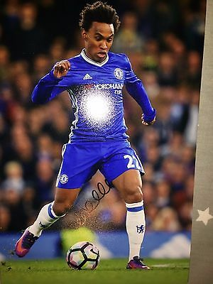 Willian Chelsea Fc Blues Hand Signed 12X8 Photo New Stock