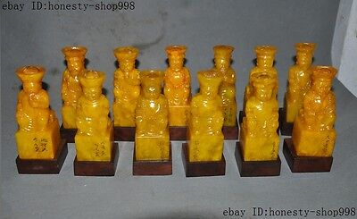 Natural Tian Huang Shoushan Stone Carved Qing Dynasty 12 Emperor Statue Seal Set