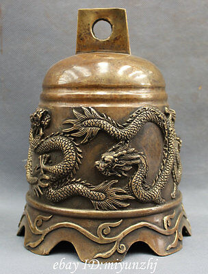 """8"""" Chinese Bronze Copper FengShui Myth Fly Dragon Statue Buddhism Temple Bell"""